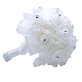 Wedding Bouquet Rose, Bridesmaid Wedding Foam Flowers Ribbon