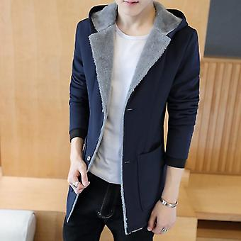 Winter Men With Warm Hood Coats, Cashmere Jacket, Hoodie Trench