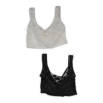 Rhonda Shear 2-Piece Pizzo Strata strato Camisole Tops Nero / Bianco 309-415