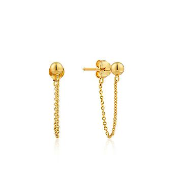Boucles d'oreilles Ania Haie Silver Shiny Gold Plated Modern Chain Stud