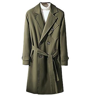 Men's Solid Color Double-breasted Slim Fit Classic Trench Coat