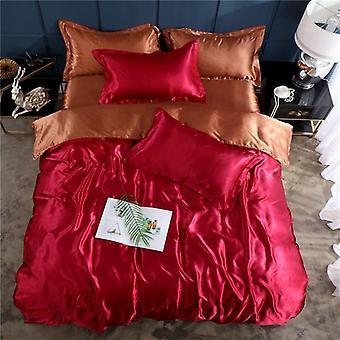لينة ناعمة الساتان الحرير الفراش مجموعة، الفاخرة ورقة سرير اللون الصلب، لحاف لحاف