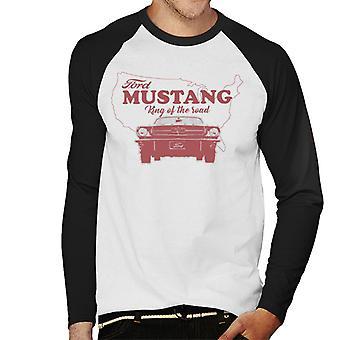 Ford Mustang King Of The Road Michigan Kaart Men's Baseball T-Shirt met lange mouwen
