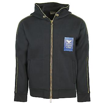 Sudadera con capucha Emporio Armani Gold Crest Navy Zip