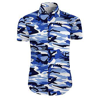 Allthemen Men Floral Dress Shirts Short Sleeve Casual Button Down Shirts Army Blue