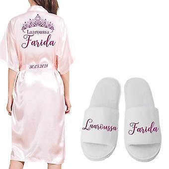 Robe Persönlichkeit Robe für Braut Partei Emulation Seide weichen Bademantel