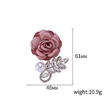 Delicate Ladies Brooch Rose Corsage Diamond Cloth Pearl Brooch Pin