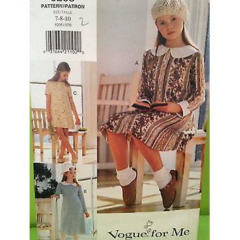 Vogue patrón de costura 9205 niños niñas vestido tamaño 7-10 sin cortar