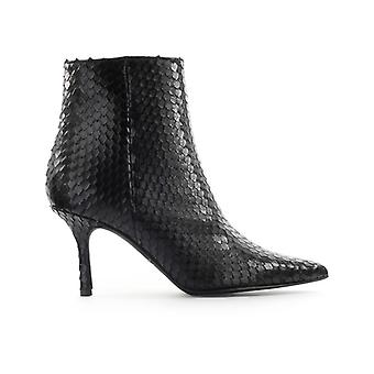 Marc Ellis Black With Reptile Effect Print Ankle Boot