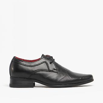 Front Rossi Ii Boys Wrinkled Leather Lace Up Shoes Black