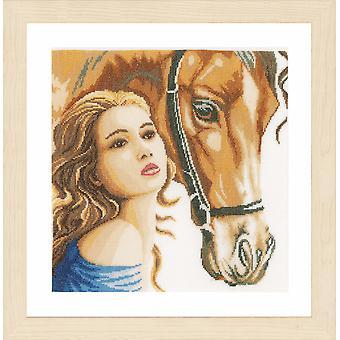 Lanarte räknade Cross Stitch Kit: Kvinnor och häst