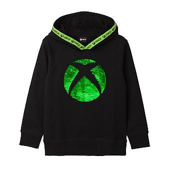 Xbox Felpa con cappuccio per ragazzi e ragazze | Kids Green Silver Game Flip Maglione con cappuccio paillettes | Bambini Giocatori Jumper Abbigliamento Merchandise