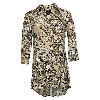 Women With Control Top Como Jersey Printed Collared Tunic Beige A347317