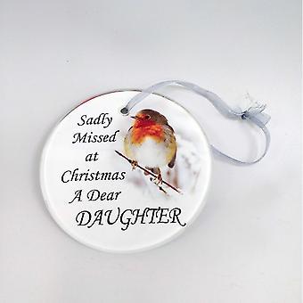 David Fischhoff Robin Glass Memorial Hanging Ornament 9cm - Daughter