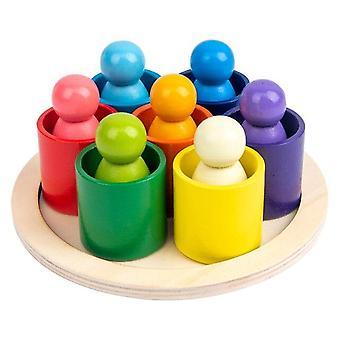 Najnowsze Baby Wood Rainbow Zabawki Rainbow Bary Block Small Size Gift| Układanie bloków (kolory tęczy)