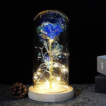 Lumottu ruusu kauneus ja peto, led lasikupoli, puupohjan valaistuskukka