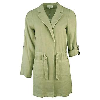 Just White Khaki Green Rolled Sleeve Lightweight Mid-length Linen Jacket