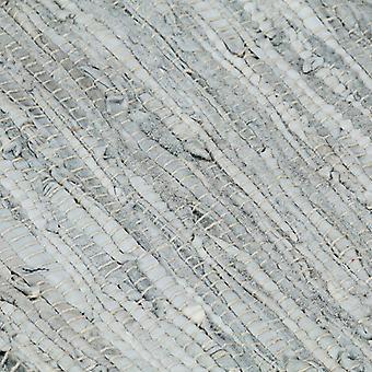 vidaXL Handgewebter Chindi-Teppich Leder 120x170 cm Hellgrau Schwarz