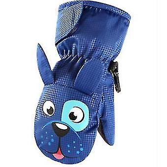 L modré fleece závesné rukavice na krku pre deti x4323