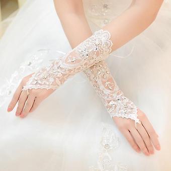 Lady Robe de mariée Lace Hollow Out Gants de mariée
