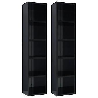 vidaXL CD shelves 2 pcs. high-gloss black 21x16x93.5 cm chipboard