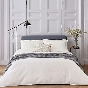 Kenza Chevron Textured Cotton Bedding In Chalk White