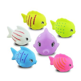 As shown 6pcs baby bath toys bathtime fun toys fish colorful toy for toddlers kids (rom color) dt3471