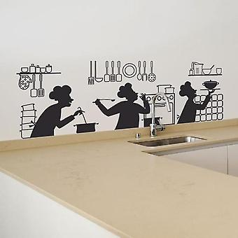 Chef Knife Fork Kitchen Wallpaper Self Adhesive Wall Decal Home Decoration Waterproof Wall Sticker
