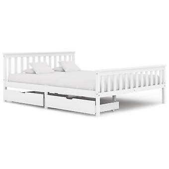 إطار سرير vidaXL مع 2 الأدراج الخشب الصلب الأبيض الصنوبر 160x200 سم