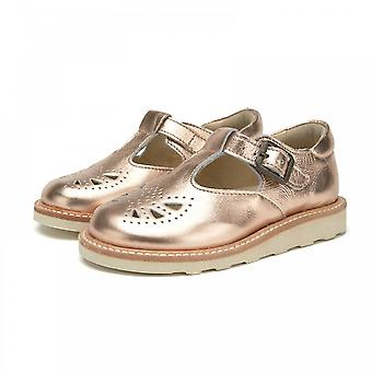 YOUNG SOLES Rosie Tbar Shoe In Rose Gold