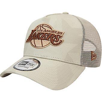 Ny æra 9FORTY LA Lakers NBA Print A-Frame Baseball Trucker Cap Hat - Stone