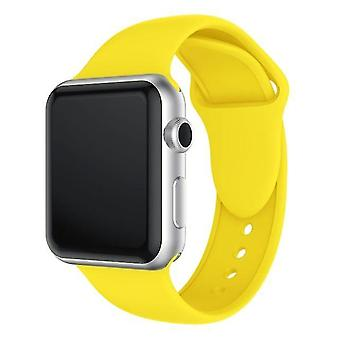 Double Rivet Silicone Watch Band for Apple Watch series 3 & 2 & 1 38 mm (yellow)
