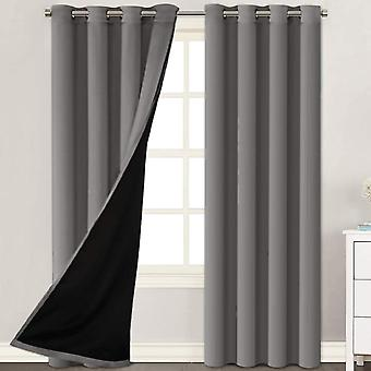 2X cortinas 100% opaqueadas paneles de cortina de ventana, cortinas de bloqueo de calor y luz completa con revestimiento negro para vivero, gris