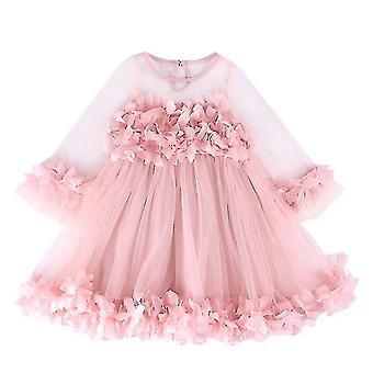 Детская девочка Платья Ruffle Кружева Конкурс Вечеринка Свадьба Цветочница Платье (90CM)