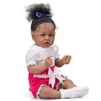 Genfødsel dukke 56cm blød krop nuttede baby gril genfødt lille barn saskia i mørk brun hud african american dukke håndlavet høj kvalitet dukke sød gave