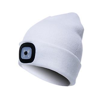 LED Mütze Hut mit Licht, 3 Helligkeit Winter warme Mütze Hut (Weiß)