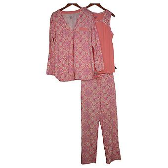 Aria Women's Printed Jersey 3 Piece Pajama Set Pink 637165