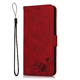 Case For Samsung Galaxy A22 5g Wallet Flip Pu Leather Cover Card Holder Coque Etui - Red Yellow