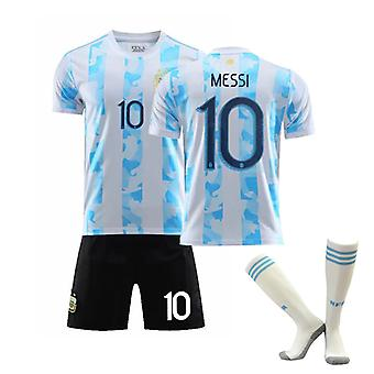 Messi #10 Jersey Home Argentiina National Soccer Teams Jalkapallo T-paidat Jersey Set lapsille Nuorille