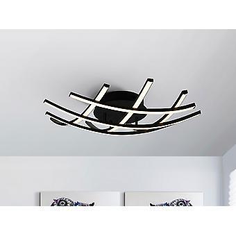 Schuller Trama II LED Designer Small Flush Ceiling Light Criss Cross Grid Style Matt Black, 60cm