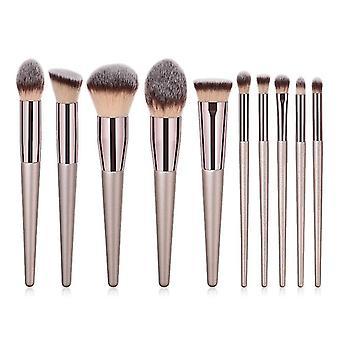 Makeup brushes 10pcs/set champagne makeup brushes set foundation powder blush beauty tool|eye shadow applicator