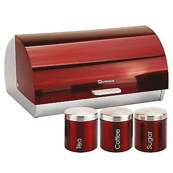 Household storage containers gems metallic bread bin and canisters - ruby