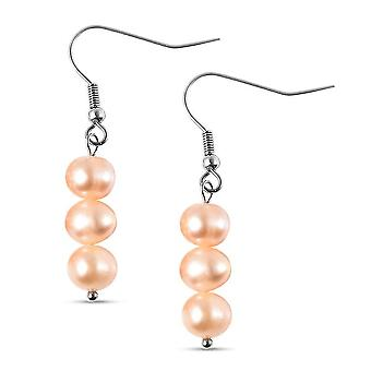 TJC Drop Dangle fülbevaló női narancs gyöngy rozsdamentes acélból 0.001ct