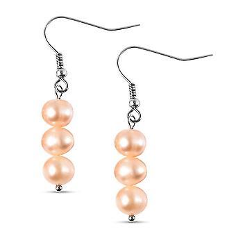 TJC Drop Dangle Ohrringe für Damen Orange Perle in Edelstahl 0.001ct