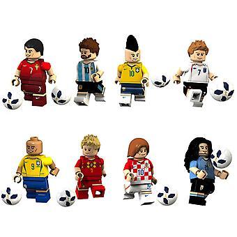 8pcsフットボールスターフィギュアメッシベッカムロナウド組み立てビルディングブロックミニフィギュアおもちゃ