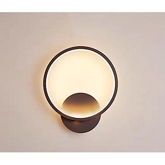Wall Light Indoor Led Wall Light 20w Warm Light Home Decor Wall Light For Bedroom / Bedside / Office / Living Room / Aisle Wall, Round Black Frame
