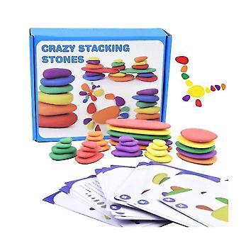Qian Rainbow Pebbles Bloques de madera Crazy Stacking Stones Rompecabezas para niños Montessori Clasificación Juguetes de color