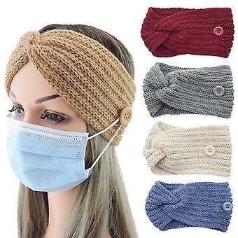 4er Pack Winter Knopf Stirnband gestrickt Ohrwärmer Kopfwärmer Kopfwickel