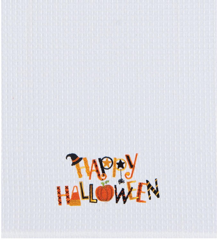Happy Halloween Waffle Weave Kitchen Towel 27 Inches Witch Hat Spider Pumpkin