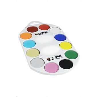 Smiffy's Make-Up FX utbud Aqua ansiktet och kroppen färg 12 färger innehåller 4 x borste 2 x svamp